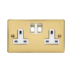 2 Gang 13A Switched Double Socket in Polished Brass Flat Plate and White Plastic Trim, Elite Flat Plate