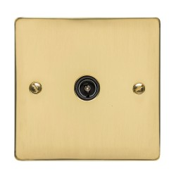 1 Gang TV/Coaxial Non-Isolated Socket in Polished Brass Flat Plate with Black Trim, Elite Flat Plate