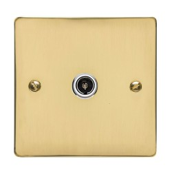 1 Gang TV/Coaxial Non-Isolated Socket in Polished Brass Flat Plate with White Plastic Trim, Elite Flat Plate