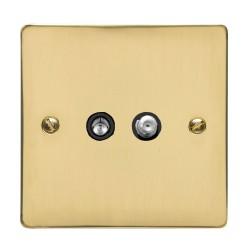 1 Gang Satellite/TV Socket in Polished Brass Flat Plate with Black Trim, Elite Flat Plate