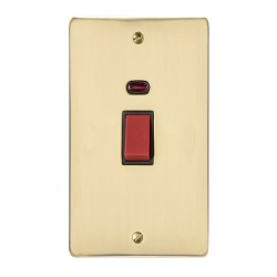 45A Red Rocker Cooker Switch with Neon (twin plate) in Polished Brass Flat Plate with Black Trim Elite Flat Plate