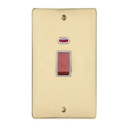 45A Red Rocker Cooker Switch with Neon Indicator (twin plate) in Polished Brass Flat Plate with White Trim