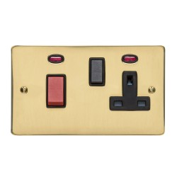 45A Cooker Unit (red rocker) with 13A Socket and Neon Indicators in Polished Brass with Black Trim, Elite Flat Plate