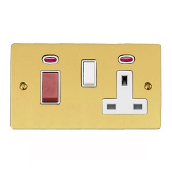 45A Cooker Unit (red rocker) with 13A Socket and Neon Indicators in Polished Brass with White Trim, Elite Flat Plate