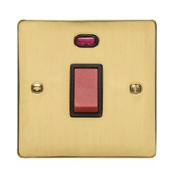 45A Red Rocker Cooker Switch (Single Plate) with Neon in Polished Brass with Black Trim, Elite Flat Plate