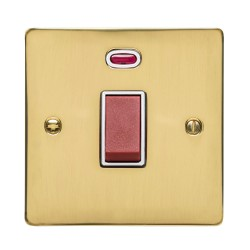 45A Red Rocker Cooker Switch (Single Plate) with Neon in Polished Brass with White Trim, Elite Flat Plate