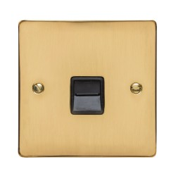 1 Gang Secondary Telephone Socket in Polished Brass Flat Plate with Black Trim, Elite Flat Plate