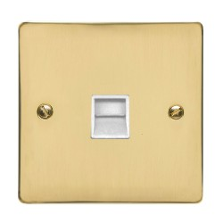 1 Gang Master Line Telephone Socket in Polished Brass Flat Plate with White Trim, Elite Flat Plate