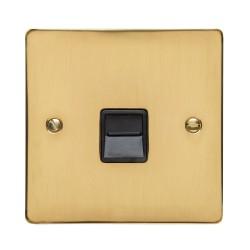 1 Gang Master Line Telephone Socket in Polished Brass Flat Plate with Black Trim, Elite Flat Plate