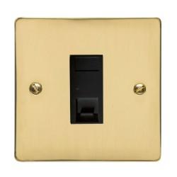 1 Gang RJ45 Data Socket Outlet in Polished Brass Flat Plate with Black Trim, Elite Flat Plate