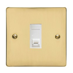 1 Gang RJ45 Data Socket Outlet in Polished Brass Flat Plate with White Trim, Elite Flat Plate
