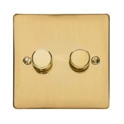 2 Gang 2 Way Trailing Edge LED Dimmer 10-120W Polished Brass Plate and Knob, Elite Flat Plate