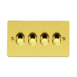 4 Gang 2 Way Trailing Edge LED Dimmer 10-120W Polished Brass Plate and Knob, Elite Flat Plate