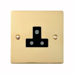 1 Gang 5A 3 Pin Unswitched Socket in Polished Brass Flat Plate with Black Trim, Elite Flat Plate