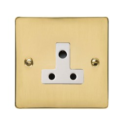 1 Gang 5A 3 Pin Unswitched Socket in Polished Brass Flat Plate with White Trim, Elite Flat Plate