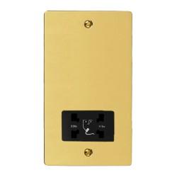 Shaver Socket Dual Voltage Output 110/240V in Polished Brass with Black Trim, Elite Flat Plate