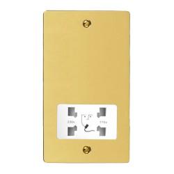 Shaver Socket Dual Voltage Output 110/240V in Polished Brass with White Trim, Elite Flat Plate