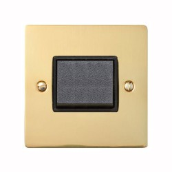6A Triple Pole Fan Isolator Switch in Polished Brass with Black Trim and Switch, Elite Flat Plate