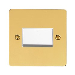 6A Triple Pole Fan Isolator Switch in Polished Brass with White Trim and Switch, Elite Flat Plate