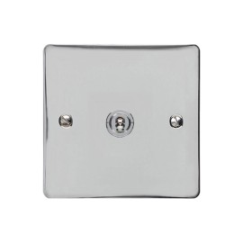 1 Gang 2 Way 20A Dolly Switch in Polished Chrome Flat Plate and Toggle, Elite Flat Plate