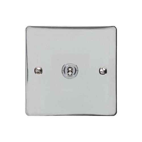 1 Gang Intermediate 20A Dolly Switch in Polished Chrome Flat Plate and Toggle, Elite Flat Plate