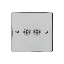 2 Gang 2 Way 20A Dolly Switch in Polished Chrome Flat Plate and Toggle, Elite Flat Plate