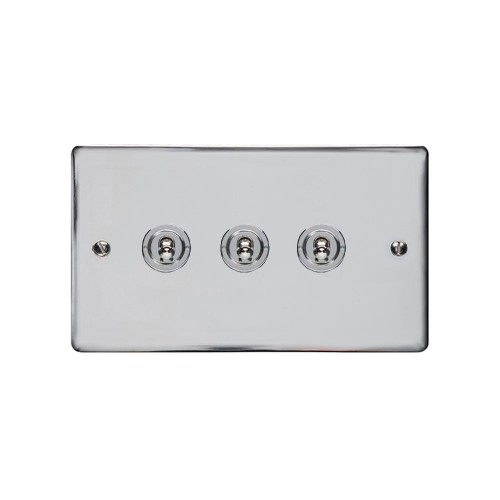 3 Gang 2 Way 20A Dolly Switch in Polished Chrome Flat Plate and Toggle, Elite Flat Plate