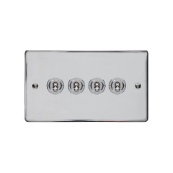 4 Gang 2 Way 20A Dolly Switch in Polished Chrome Flat Plate and Toggle, Elite Flat Plate