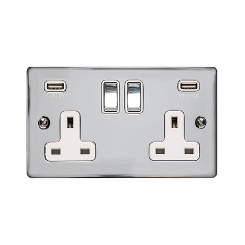 2 Gang 13A Socket with 2 USB Sockets Polished Chrome Elite Flat Plate and Rocker and White Plastic Insert