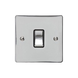 1 Gang 2 Way 10A Rocker Switch in Polished Chrome Plate and Switch with Black Plastic Trim, Elite Flat Plate
