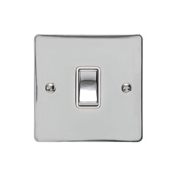 1 Gang 2 Way 10A Rocker Switch in Polished Chrome Plate and Switch with White Plastic Trim, Elite Flat Plate