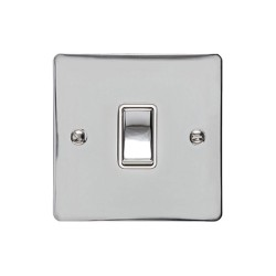 1 Gang 20A Double Pole Rocker Switch in Polished Chrome Plate and Switch with White Trim, Elite Flat Plate