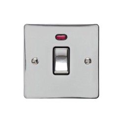 1 Gang 20A Double Pole Switch with Neon in Polished Chrome Plate and Switch with Black Trim, Elite Flat Plate