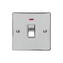 1 Gang 20A Double Pole Switch with Neon in Polished Chrome Plate and Switch with White Trim, Elite Flat Plate