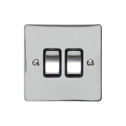 2 Gang 2 Way 10A Rocker Switch in Polished Chrome Plate and Switch with Black Plastic Trim, Elite Flat Plate