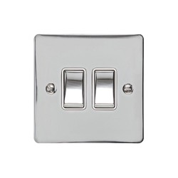2 Gang 2 Way 10A Rocker Switch in Polished Chrome Plate and Switch with White Plastic Trim, Elite Flat Plate