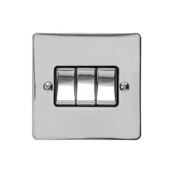 3 Gang 2 Way 10A Rocker Switch in Polished Chrome Plate and Switch with Black Plastic Trim, Elite Flat Plate