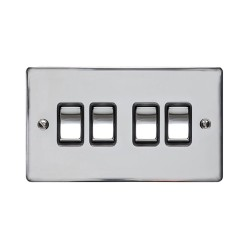 4 Gang 2 Way 10A Rocker Switch in Polished Chrome Plate and Switch with Black Plastic Trim, Elite Flat Plate