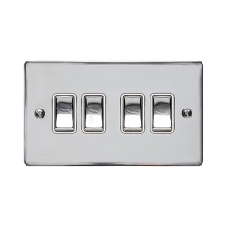 4 Gang 2 Way 10A Rocker Switch in Polished Chrome Plate and Switch with White Plastic Trim, Elite Flat Plate