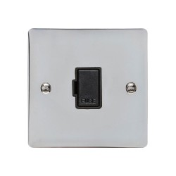 13A Unswitched Fused Spur in Polished Chrome with a Black Trim, Elite Flat Plate