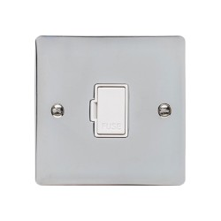 13A Unswitched Fused Spur in Polished Chrome with a White Trim, Elite Flat Plate