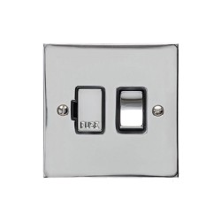 13A Switched Fused Spur in Polished Chrome Plate and Switch with Black Plastic Trim, Elite Flat Plate