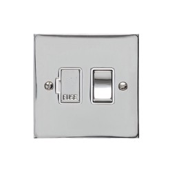 13A Switched Fused Spur in Polished Chrome Plate and Switch with White Plastic Trim, Elite Flat Plate