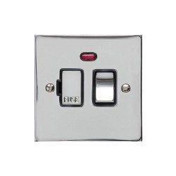 13A Switched Fused Spur with Neon in Polished Chrome Plate and Switch with Black Plastic Trim, Elite Flat Plate