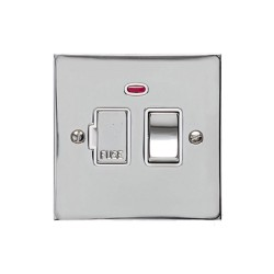 13A Switched Fused Spur with Neon in Polished Chrome Plate and Switch with White Plastic Trim, Elite Flat Plate