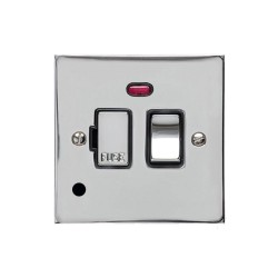 13A Switched Fused Spur with Neon and Cord in Polished Chrome Plate and Switch with Black Plastic Insert, Elite Flat Plate
