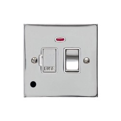 13A Switched Fused Spur with Neon and Cord in Polished Chrome Plate and Switch with White Plastic Insert, Elite Flat Plate