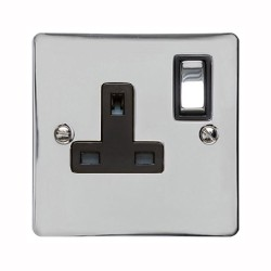 13A Switched Single Socket in Polished Chrome Plate and Switch with Black Plastic Trim, Elite Flat Plate