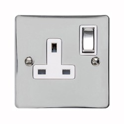 13A Switched Single Socket in Polished Chrome Plate and Switch with White Plastic Trim, Elite Flat Plate