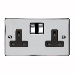 13A Switched Twin Socket in Polished Chrome Plate and Switch with Black Plastic Trim, Elite Flat Plate